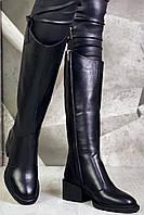 Диор! Сапоги кожаные зимние женские, трубы, на невысоком устойчивом каблуке, фото 1
