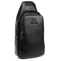 Чоловіча шкіряна сумка слінг міні-рюкзак через плече Bretton BE 2002-3 бананка чорна