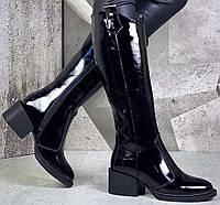 Диор! Сапоги кожаные демисезонные женские, трубы, на невысоком устойчивом каблуке, фото 1