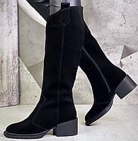Диор! Сапоги замшевые демисезонные женские, трубы, на невысоком устойчивом каблуке, фото 1