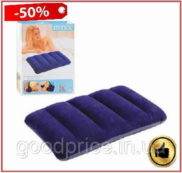 Подушка надувная Intex Pillow синяя 43х28х9 см подушка для путешествий