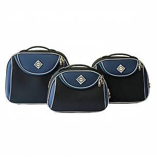 Сумка кейс саквояж Bonro Style (середня) чорно-т. синя, фото 2
