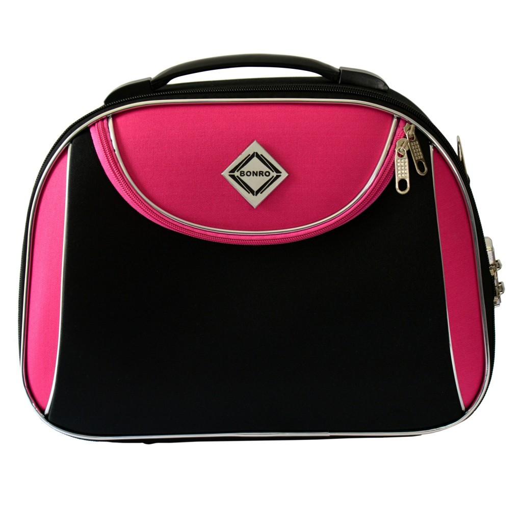Сумка кейс саквояж Bonro Style (середня) чорно-рожева