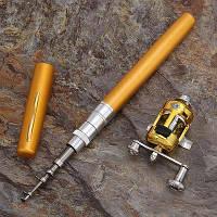 Удочка складная с катушкой и леской, телескопическая, Fishing rod in pen case, блесной, удочка ручка |