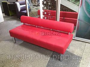 Диван для офиса Стронг (MebliSTRONG) без подлокотников - красный матовый цвет