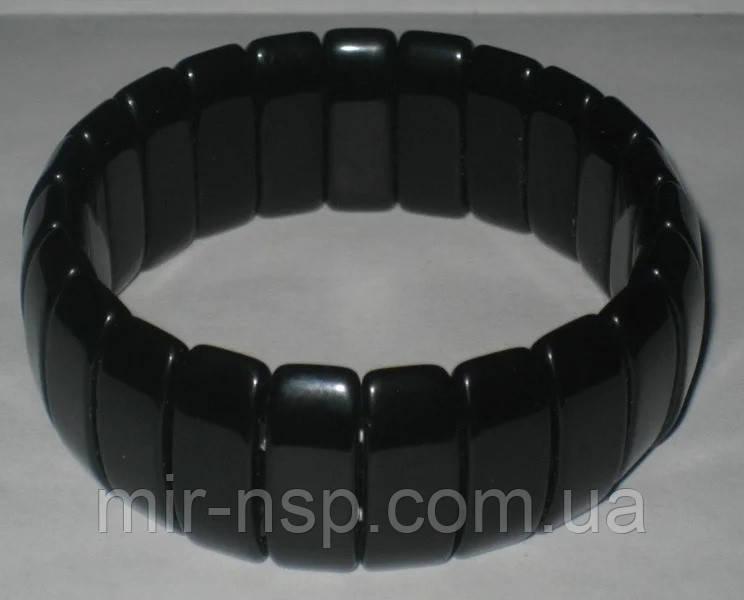 Браслет мужской натуральный Агат черный вес 68г