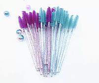 Щеточи нейлоновые  с блестками для ресниц и бровей оптом (50шт/уп), фото 2