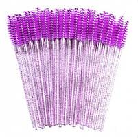 Щеточи нейлоновые  с блестками для ресниц и бровей оптом (50шт/уп), фото 6
