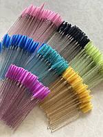 Щеточи нейлоновые  с блестками для ресниц и бровей оптом (50шт/уп), фото 10