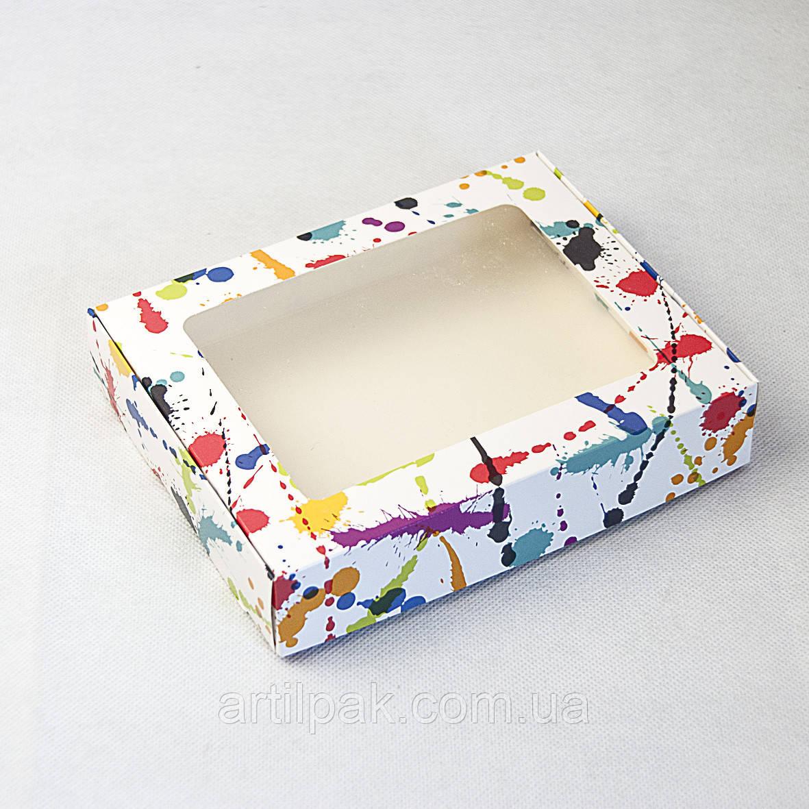 Коробка для пряника 192*148*40 Клякса з прозорим вікном