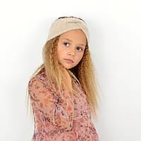 Бежева дитяча пов'язка з пухнастої пряжі