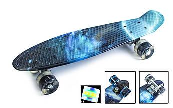 Детский Скейт ПенниБорд с рисунком Галактика на светящихся колесах