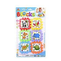 """Куб логический """"Животные"""" Y 86-2 (144/2) пазлы-вкладыши, на листе"""