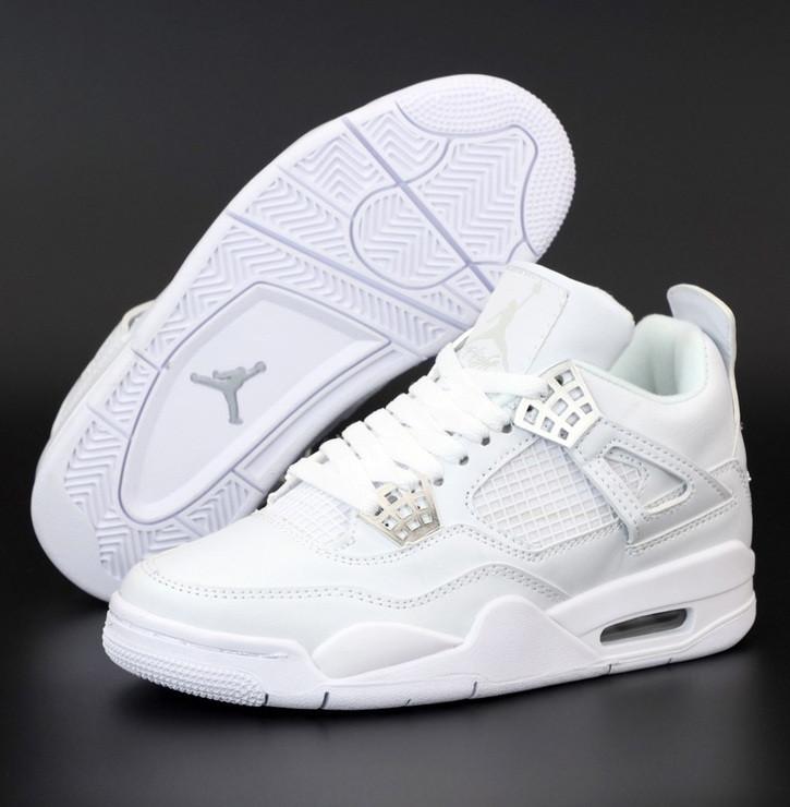 Кроссовки мужские Nike Air Jordan 4 Retro белые осень-весна. Живое фото. Реплика