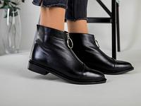 Демисезонные женские черные кожаные ботинки 36