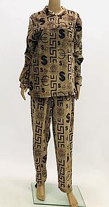 Махровая мужская пижама коричневого цвета с принтом 52-56 р
