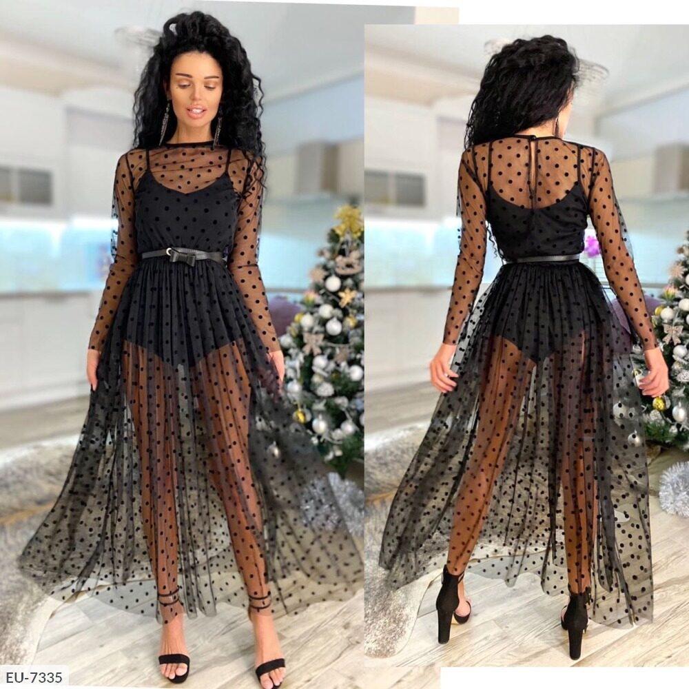 Чёрное платье боди с фатином