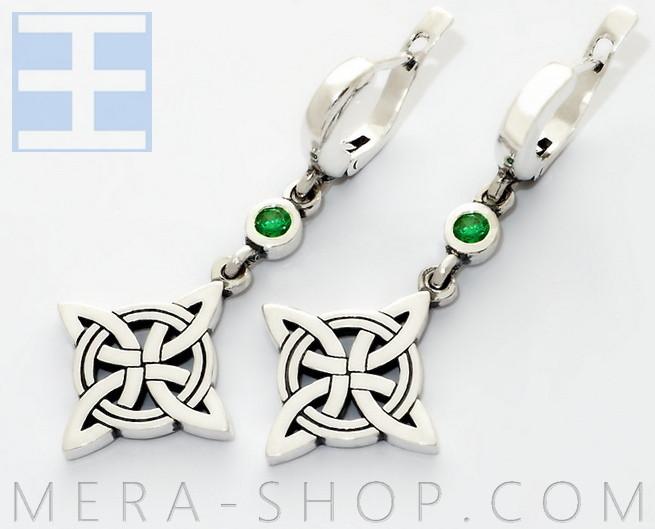 Серебряные серьги Кельтский Клевер с камнями