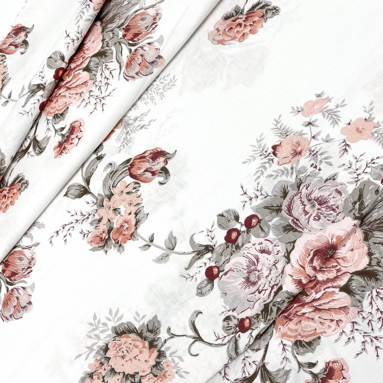 """Польская хлопковая ткань """"Цветы серо-пудровые"""""""