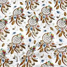 """Польская хлопковая ткань """"Ловци снов с цветами на белом"""", фото 2"""