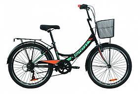 """Велосипед 24"""" Formula SMART 7 с корзиной 2020 (черно-оранжевый с бирюзовым (м))"""