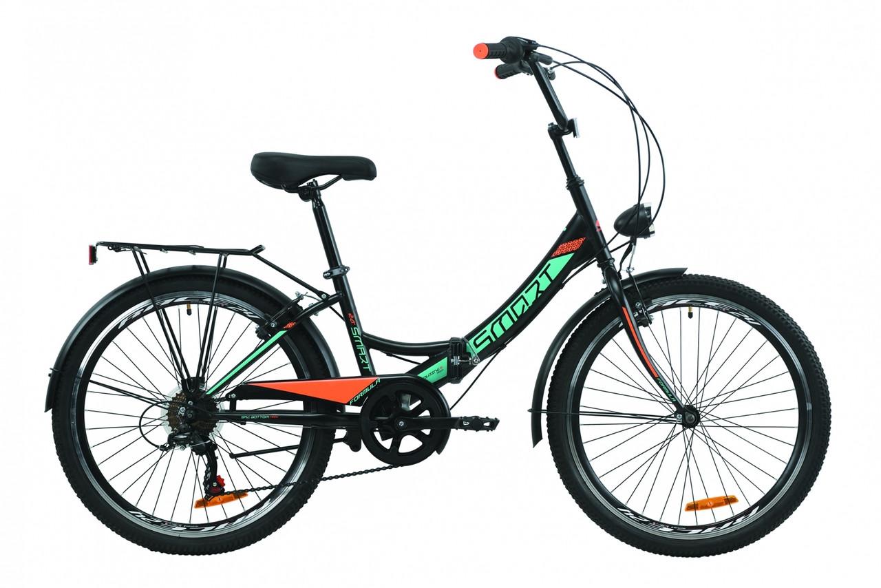 """Велосипед 24"""" Formula SMART 7 с фонарём 2020 (серо-зелёный с черным (м))"""