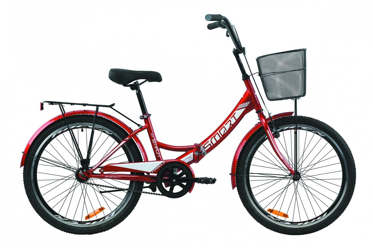 """Велосипед 24"""" Formula SMART с корзиной 2020 (красный)"""