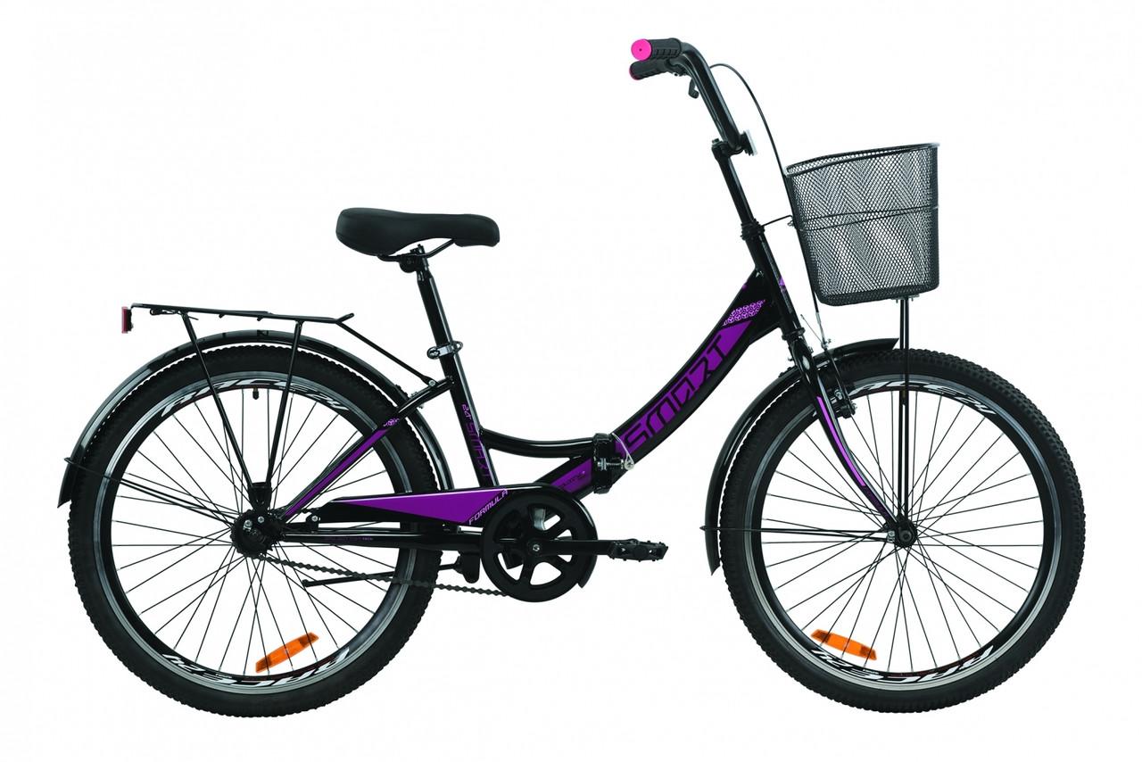 """Велосипед 24"""" Formula SMART с корзиной 2020 (черно-фиолетовый)"""