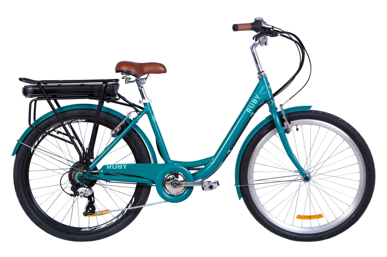 """Электровелосипед 26"""" RUBY трещ, 350Вт 36В, 13Ач, макс. пробег 50км, 40 км/ч (красный)"""