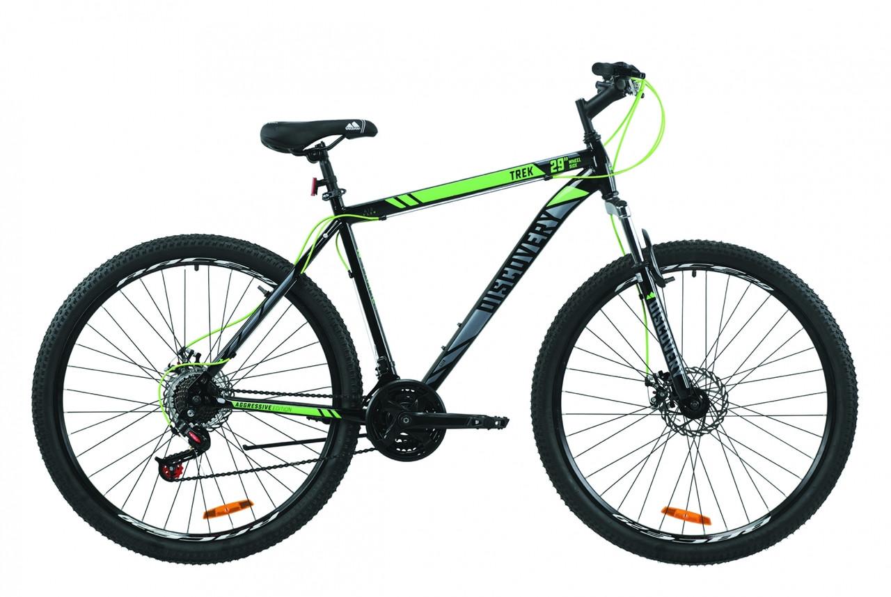 """Велосипед 29"""" Discovery TREK DD 2020 (черно-зеленый с серым)"""