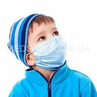 Детские маски медицинские одноразовые трехслойные с мельтблауном уп. 50 штук маски для лица защитные