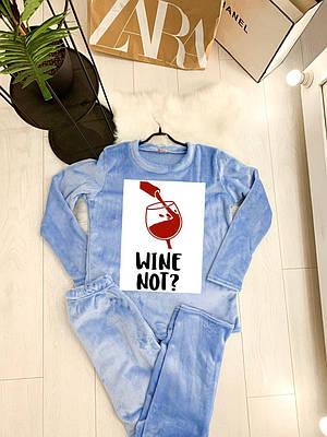 Жіноча піжама тепла з принтом WINE NOT blue