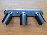 Спот поворотный на 3-лампы SLEEVE-3 E27  черный, фото 2