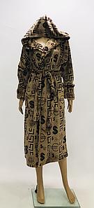 Мужской махровый халат под пояс коричневого цвета с принтом 50-58 р
