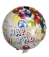 """Фольгированный шар с рисунком  Круг 18"""" Happy Birthday шарики"""