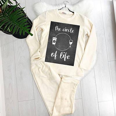 Жіноча піжама тепла THE CIRCLE OF LIFE молочна