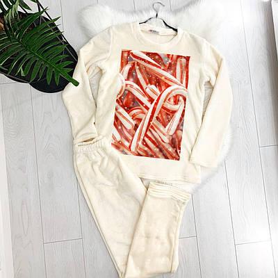 Жіноча піжама тепла КОНФЕТКА OLIVKA молочна