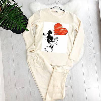 Жіноча піжама тепла Mickey Mouse Love молочна