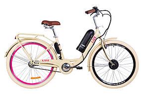 """Электровелосипед 26"""" LUX, 350Вт 36В, 10Ач, макс.пробег 40км, 40 км/ч (бежевый)"""