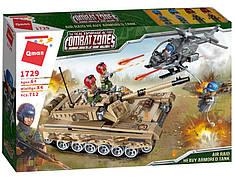 Конструктор Qman «Воздушное нападение на военный танк» Combat Zones 712 деталей 1729