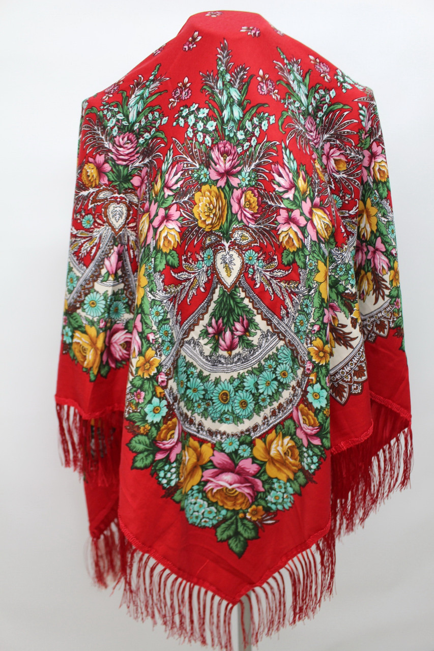 Платок червоний в народному стилі 611009
