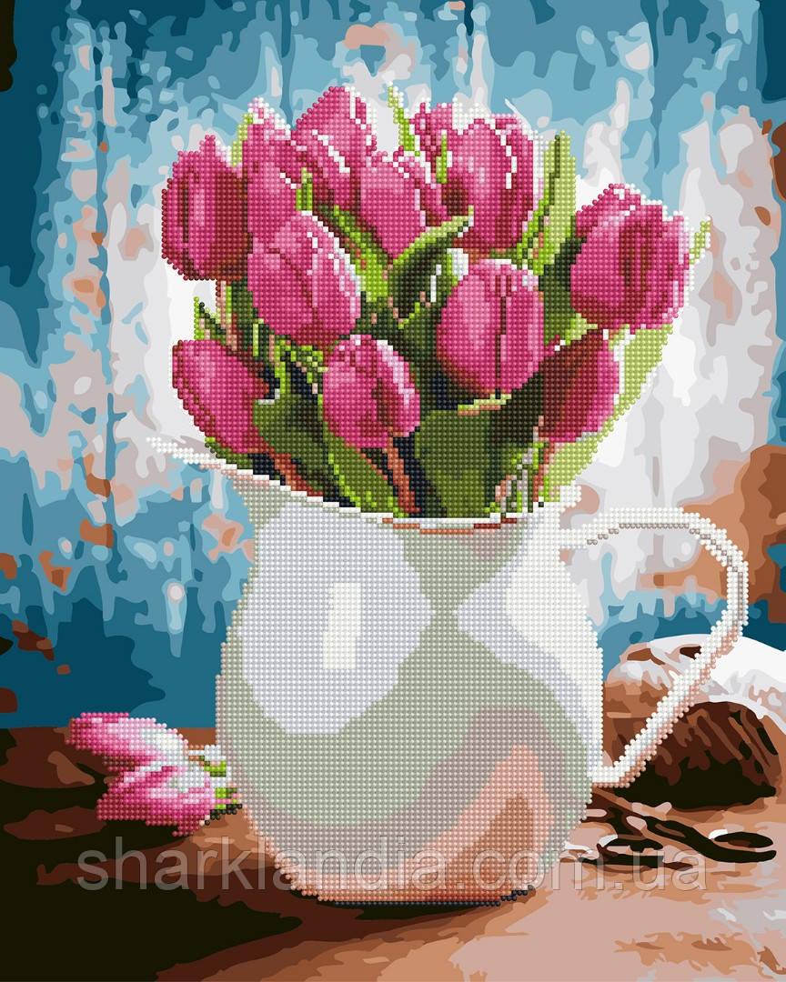 Тюльпаны для любимой Алмазная картина-раскраска 2в1 40*50см