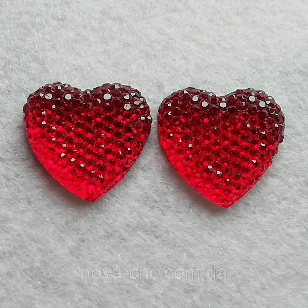 "Клеевые кабошоны ""Сердце""  Цвет красный 20 мм 10 шт уп"