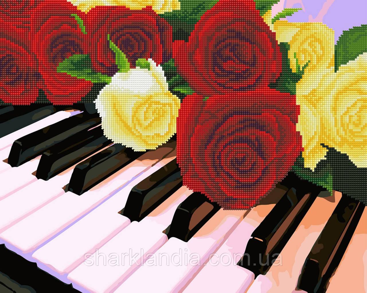 Розы на рояле Алмазная картина-раскраска 2в1 40*50см