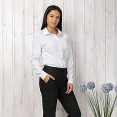 Белая женская рубашка классическая деловая офисная блузка длинный рукав