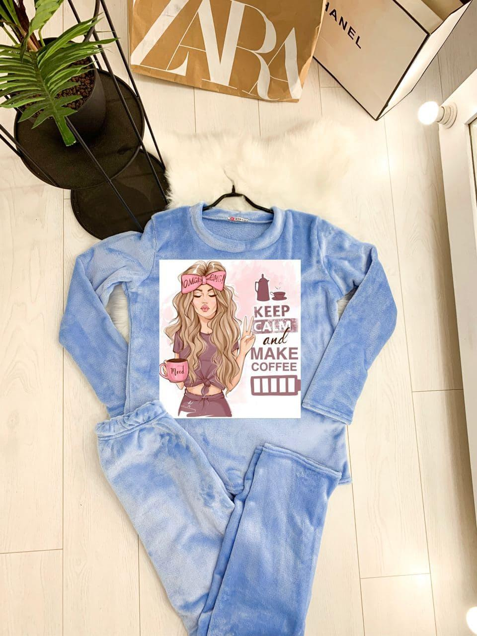 Жіноча піжама тепла махрова KEEP CALM LOVE blue