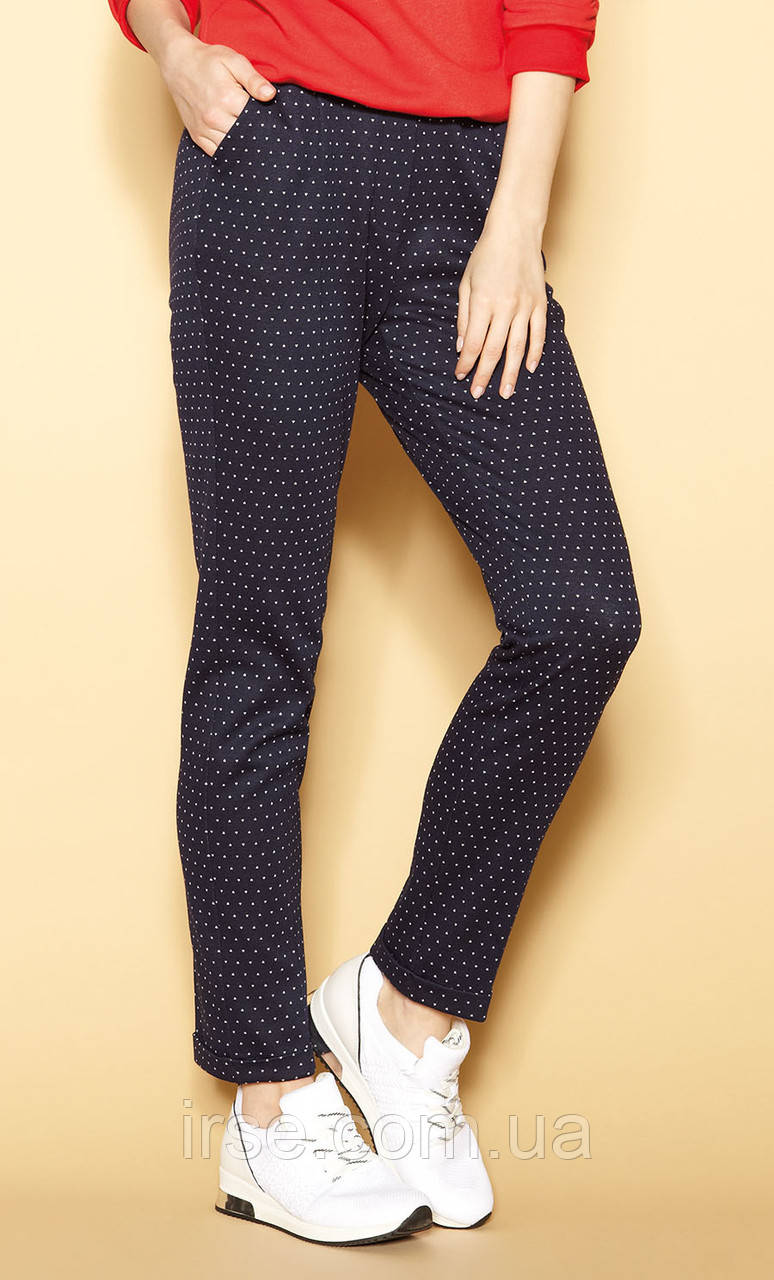 Женские летние брюки темно-синего цвета. Модель Donetta Zaps. Коллекция весна-лето 2021.