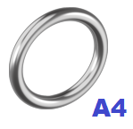 Кольцо сварное полированное 8х50мм нержавеющее А4 (10 шт/уп)