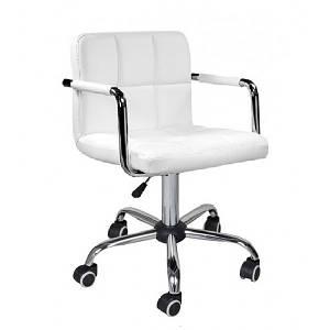 Біле крісло майстра Артур-КО на коліщатках хром