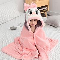 Банний рушник для дітей / банное полотенце с капюшоном, плащ из кораллового флиса,детское банное полотенце